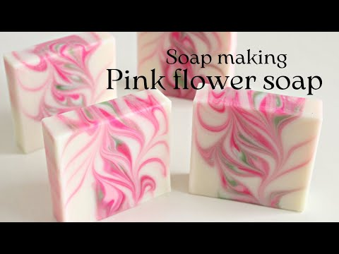 Making the pink flower soap