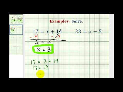 Ex:  Solve One Step Equations By Add. and Subtract. Whole Numbers  (Variable on Right)