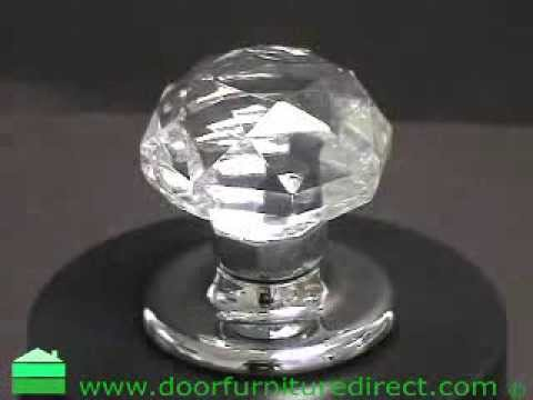 Clear Glass Faceted Mortice Door Knobs CP Rose