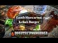 Lamb Shawarma Kebab Burger cooked on BBQ plancha
