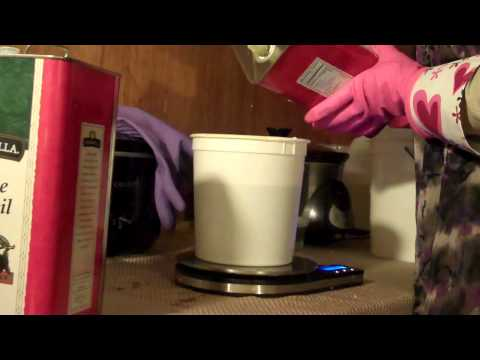 Making Castile Soap 100% Olive oil. With recipe