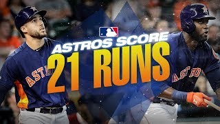 Astros put up 21 runs against the Mariners