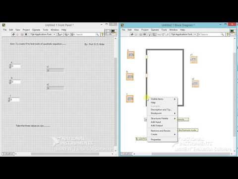 To create VI for finding roots of quadratic equation using LabVIEW