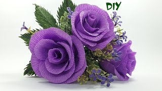 Ez paper craft videos how to make rose paper flower from crepe paper paper craft tutorial mightylinksfo