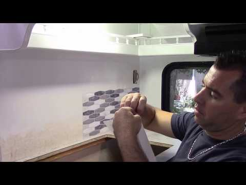 Vinyl Backsplash tile install in the RV