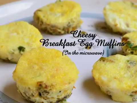 Cheesy breakfast egg muffins | Microwave egg muffins