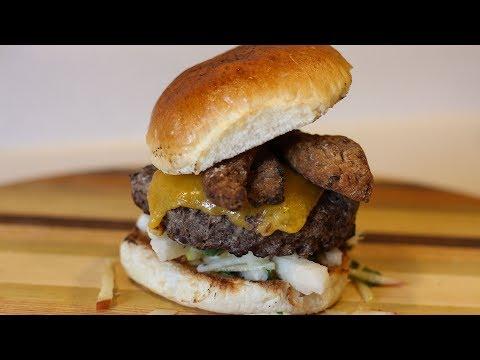 Pork Belly Skewer Salt Crusted Cheese Burger