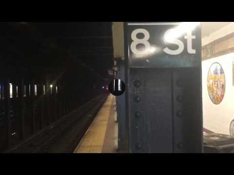 N, Q, R, and W train action at 8th Street NYU 3/24/17
