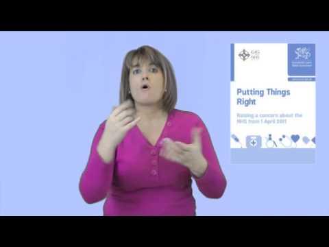 Putting things Right - NHS Wales - British Sign Language version