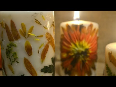 🍂🍁DIY: Pressed Flowers Candle *EASY*🍁🍂