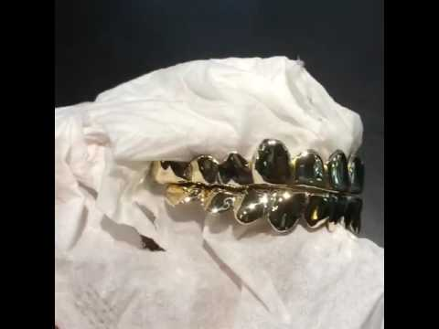 10K Solid Yellow Gold Deep cut  REAL Grill Gold Teeth GRILLZ.