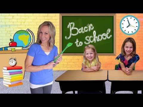 FIRST Day Back to FAKE Toy School for Addy and Maya !!!