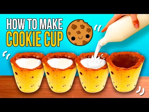 DIY COOKIE SHOT GLASS 🍪 How to make MILK and CHOCOLATE CHIP COOKIE CUPS ☕️