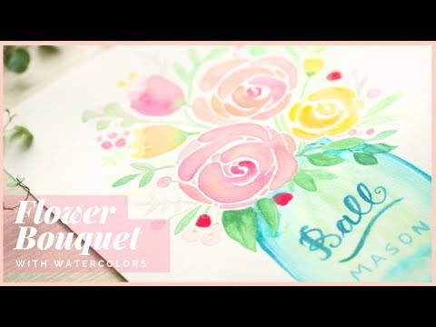 How to Paint  a Flower Bouquet in a Jar with Watercolors   Art Journal Thursday Ep. 35