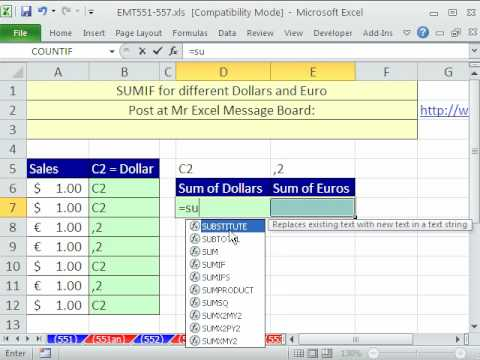 Excel Magic Trick 553: SUMIF for Dollars and Euros
