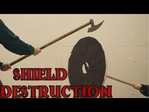 Plywood shield vs broadsword, katana, axe, kriegsmesser, and war hammer