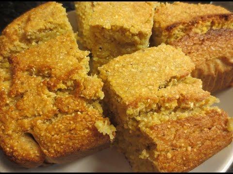 Low Fat Vegan No Oil Dr. McDougall Applesauce Cornbread Loaf Thanksgiving!