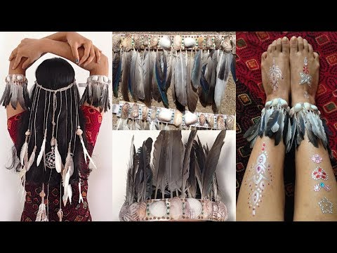 DIY Accessories from feathers & shells | Headband | Anklets | Bohemian Style | Tumblr Inspired