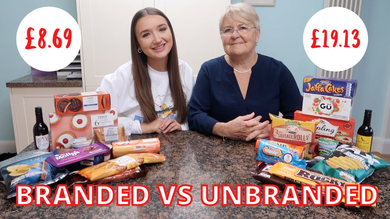 BRANDED VS UNBRANDED FOOD CHALLENGE with my nan