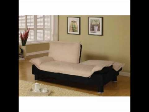 Futon Sofa Bed in Beige Microfiber.