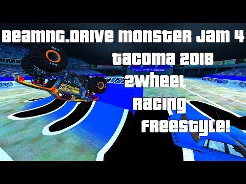 BeamNG.Drive Monster Jam 4; Tacoma 2018 2Wheel, Racing & Freestyle!