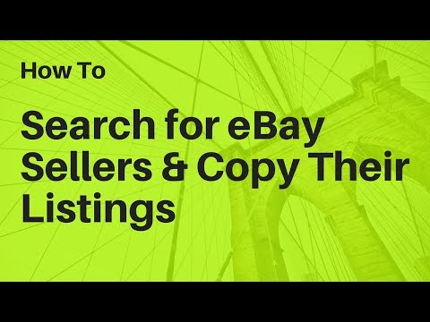 How to Search for an eBay Seller by Name And Copy Their Listings 👨