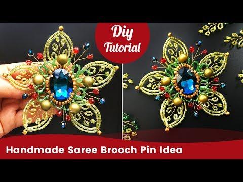 DIY Flower Brooch Pin Tutorial. Handmade Saree Brooch Pin Idea.