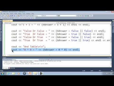 C++ Win32 Console Tutorial 12 - Simple Truth Tables - Boolean Algebra