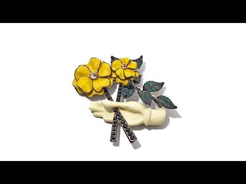 RaRa Enamel Flower Hand Brooch