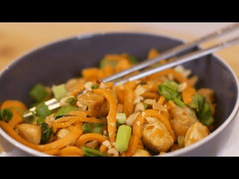Thai Peanut Chicken and Sweet Potato Noodles Recipe - The Produce Mom