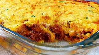 TAMALE PIE | Enchilada Cornbread Casserole | Jalapeno Cheddar Cornbread Recipe