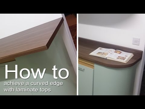 How to cut a laminate worktop / countertop into a curved shape and attach edging strips.