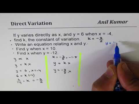 Can direct variation have negative constant of proportionality