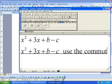 MathType Tutorial: Formatting Equations