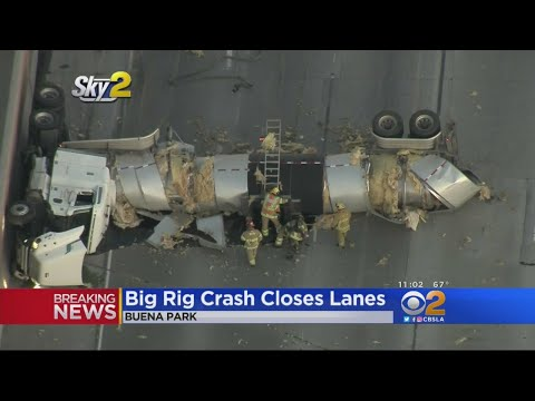 Crash Involving Big Rig, 2 Cars Has 4 Lanes Of 5 Freeway Closed In Buena Park