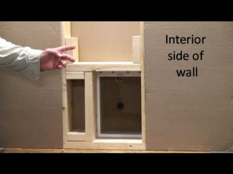 Step #2-How to install a small pet door into an exterior wall-positioniong into wall cavity