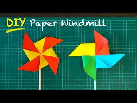 DIY How to Make Paper Windmill (pinwheel) without pin.