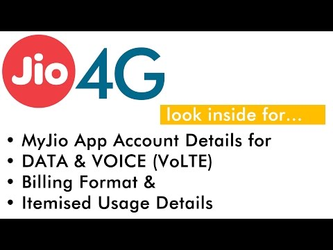 Reliance Jio 4G Account Summary and Itemised Usage Detail Bill Demo