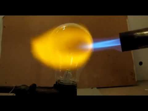 Experiments with light bulb. Ligth bult with propane.