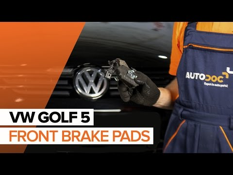 How to replace front brake pads on VW GOLF 5 TUTORIAL | AUTODOC