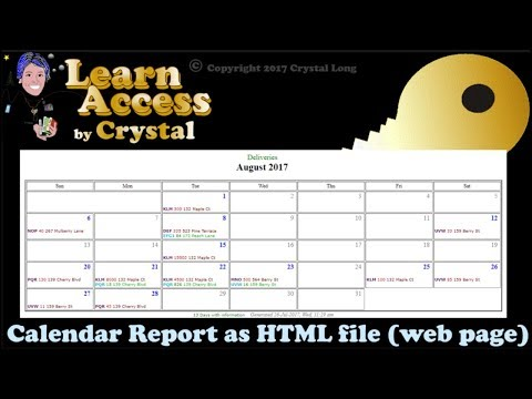 How to Create Calendar Reports from Access Queries ... as shareable Web Pages - easy! (cc)