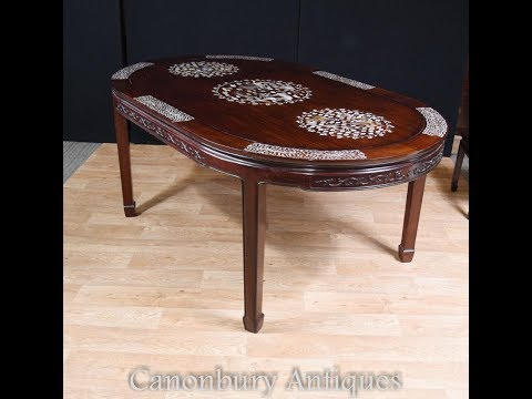 Chinese Hardwood Dining Table Mother of Pearl Inlay