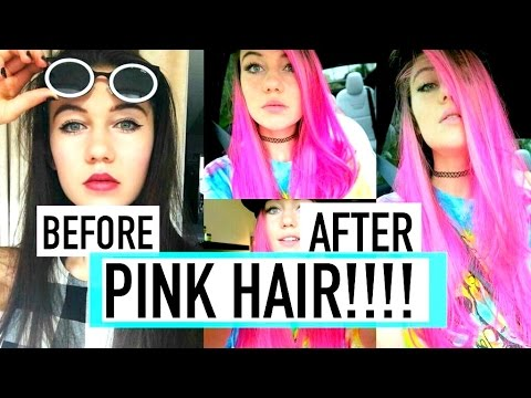 DYEING MY HAIR FROM DARK BROWN TO BRIGHT PINK!!