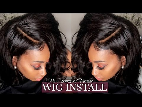 GLUELESS LACE WIG INSTALL NO LEAVE OUT! NO CORNROWS! NO SEW! | BRAZILIAN BODY WAVE