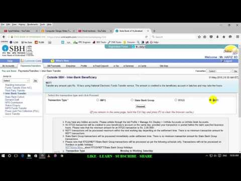 How to add third party account in sbi online Hindi/Urdu