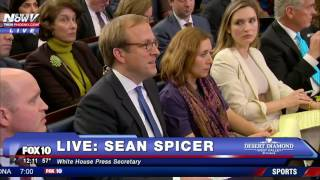 FNN- SEAN SPICER Corrects White House Reporter Over President Trump Inauguration Attendance