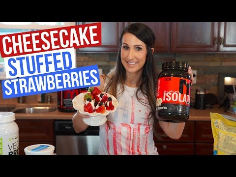 Strawberries STUFFED with Whey Protein Cheesecake!