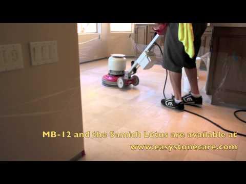 Limestone and Marble Floor Polishing with MB-12 - How to polish marble and limestone