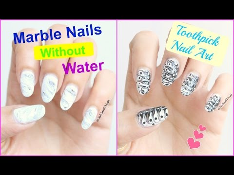 2 Marble Nail Art Design Without Using Water Easy For Beginners Toothpick