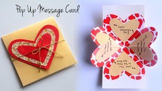 Valentines Day Card | How To Make Pop Up Card | Love Quotes Message Card